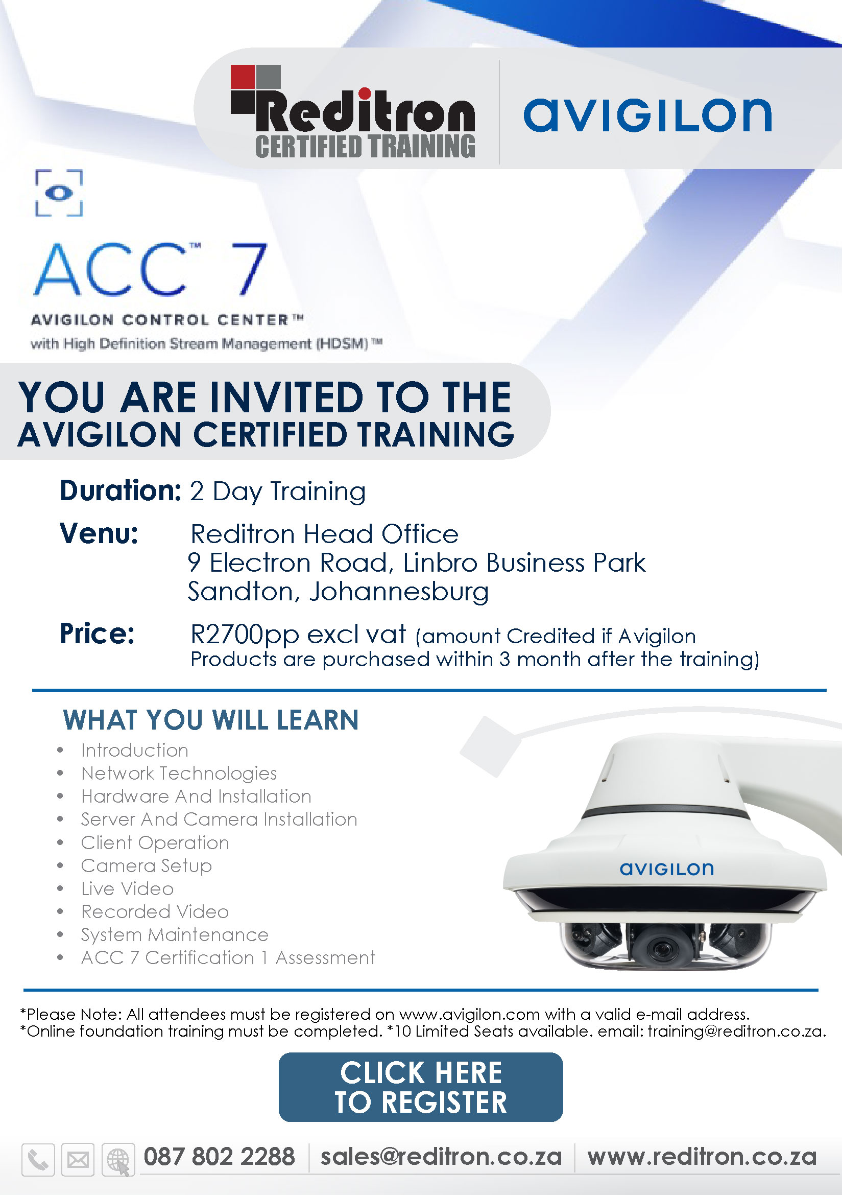 AVIGILON 7 training JHB