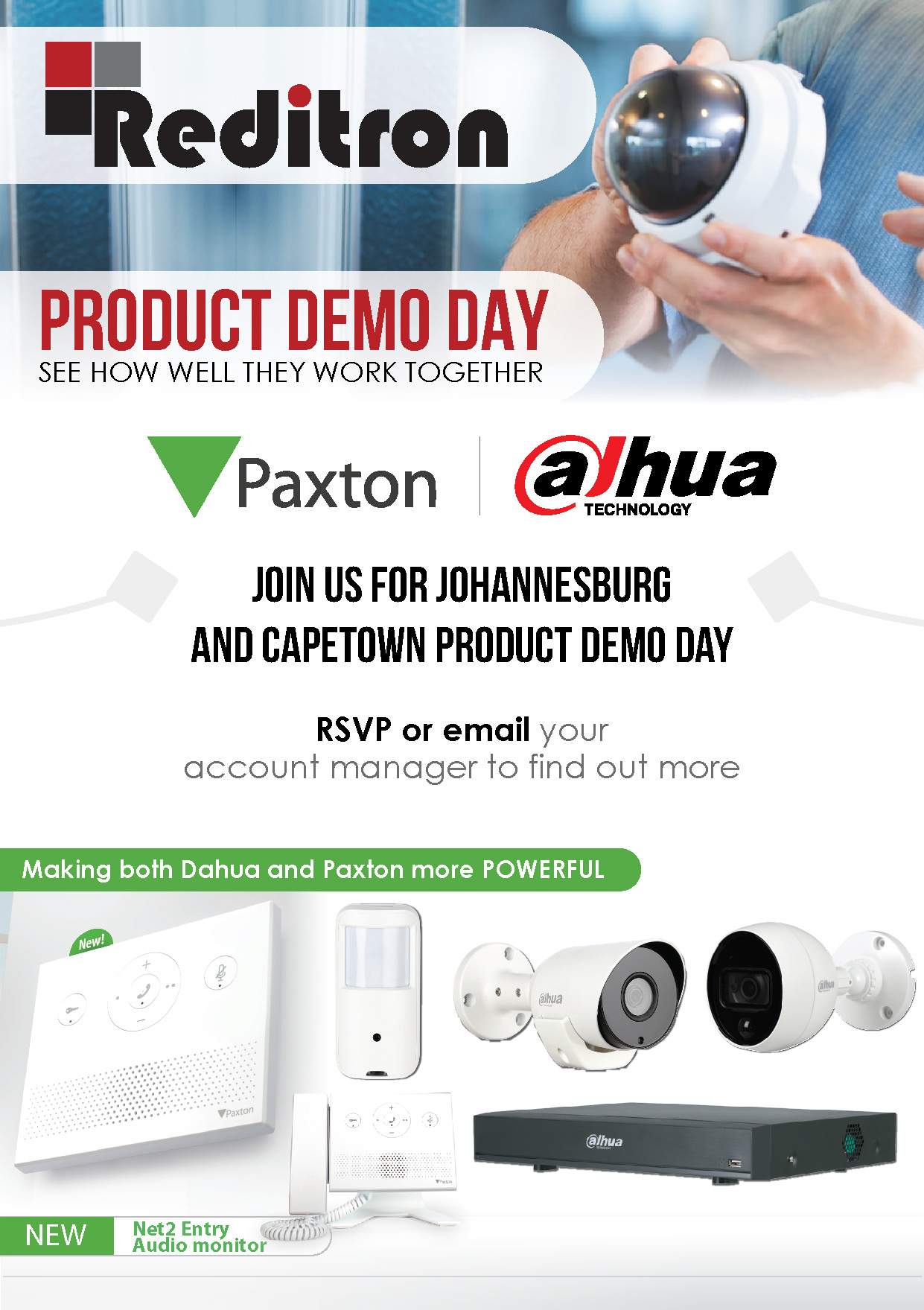 Reditron Web page event Dahua Paxton Product Demo Day invite 01